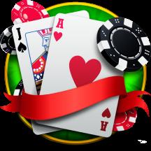Blackjack-Kombination und Chips spielen