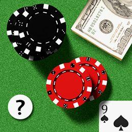 Blackjack Tisch mit Karten, Chips, Geld und einem Fragezeichen
