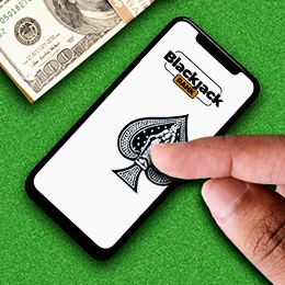 Finger auf dem Telefonbildschirm mit Logo