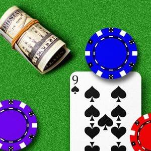 Karte, Chip und verdrehter Dollar