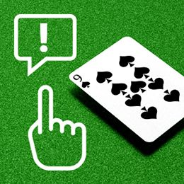 Spiel Karte mit einem Handsymbol mit erhobenem Finger