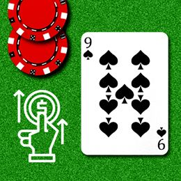 SpielKarte und Logo einer Hand, die einen Chip setzt