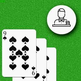 drei Spitzenspielkarten und Händlerlogo