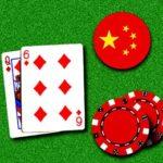 zwei Blackjack-Karten mit Flagge von China