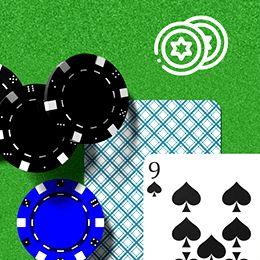 zwei Karten und drei Chips