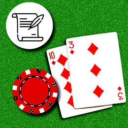zwei SpielKarten und ein Chip mit dem Regelsymbol