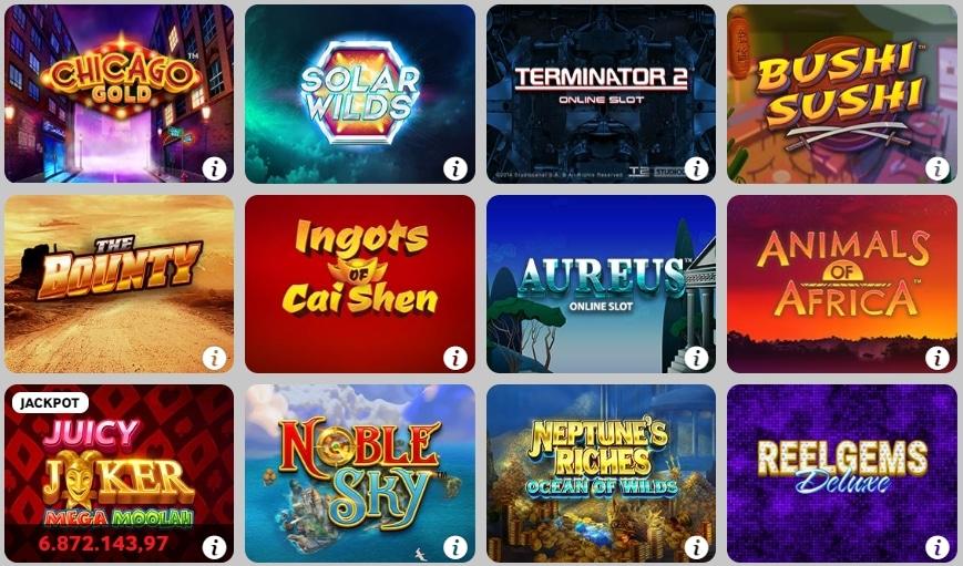 Betway Casino verschiedene Slots