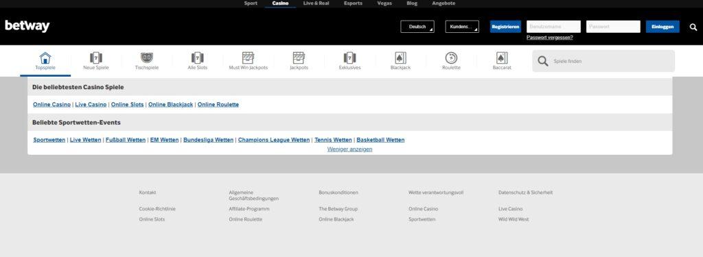 Casino Betway Übersicht Website